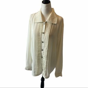 VINTAGE Cream Pleated Button Up Blouse Top 14